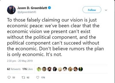 <span>[Do tych, którzy fałszywie twierdzą, że naszą wizją jest tylko pokój ekonomiczny: mówiliśmy wyraźnie, że ekonomiczna wizja nie może istnieć bez politycznego składnika i że polityczny składnik nie może udać się bez ekonomicznego. Nie wierzcie plotkom, że plan jest tylko ekonomiczny. Nie jest.]</span>