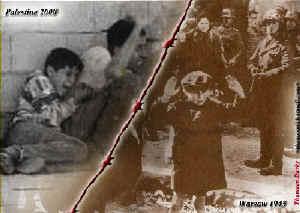 Źródło: Ramsey Clark'sInternational Action website.Catherine Nay, prezenterka Europe1,orzekła z zadowoleniem, że to zdjęcie palestyńskiego chłopca wymazuje zdjęcie chłopca z warszawskiego getta.