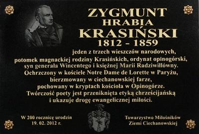 W sobotę 18 lutego 2012, uroczystością w warszawskim kościele Św. Krzyża rozpoczęły się obchody 200. rocznicy urodzin Zygmunta Krasińskiego. W kościele w Ciechanowie odsłonięto tablicę pamiątkową.