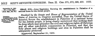 Rezolucja Lodge-Fish<span>zatwierdzająca żydowskie prawo do zasiedlania Mandatu Palestyńskiego została uchwalona jednogłośnie i ratyfikowana wiele razy przez organy w USA i Wielkiej Brytanii.</span>