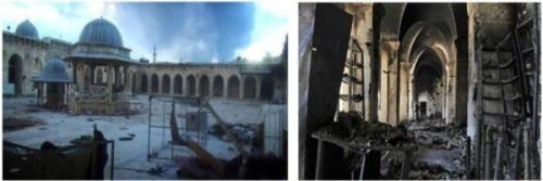 Meczet w jego obecnym stanie (zdjęcia: aksalser.com, 2 marca 2013; alwatanalarabi.com, 22 listopada 2013)
