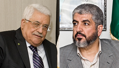 Mahmoud Abbas (po lewej) i Chaled Maszal. (Zdjęcia: Abbas - European Union / Mashaal - Wikimedia Commons)