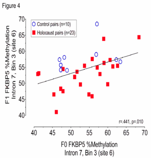 (From paper). Figure 4. Relationship between F0 and F1 FKBP5 intron 7 bin 3/site 6 percent methylation. Parent-offspring pairs are represented by red squares for Holocaust survivors (n=23) and by blue open circles for controls (n=10). Significance was set at p<.05.