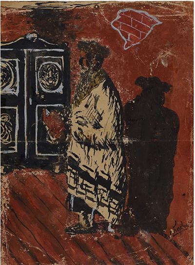 """""""Modlitwa"""" obraz namalowany przez Abramka Koplowicza w 1943 roku."""