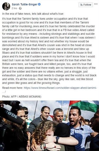 """<span>Nowa redaktor działu mediów w """"Times of Israel""""</span>mówi,<span>że rodzina Ahed Tamimi żyje pod okupacją. Rodzina Tamimi żyje jednak w Nabi Saleh, którą rządzi Autonomia Palestyńska.</span>"""