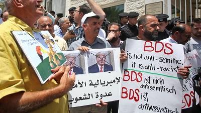 Protest BDS przed przedstawicielstwem Niemiec w Ramallah na Zachodnim Brzegu w maju 2019 roku(Zdjęcie: AFP/Getty Images)