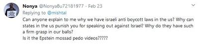 [Czy ktoś może wyjaśnić mi, dlaczego mamy prawa przeciwko bojkotowi Izraela w USA? Dlaczego stany w USA mogą cię ukarać za mówienie przeciwko Izraelowi? Dlaczego trzymają nasze jaja w tak silnym uchwycie? Czy to są Epstein Mosad pedo wideo?????]