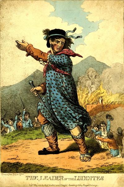 Luddysta, karykatura z początków XIX wieku.