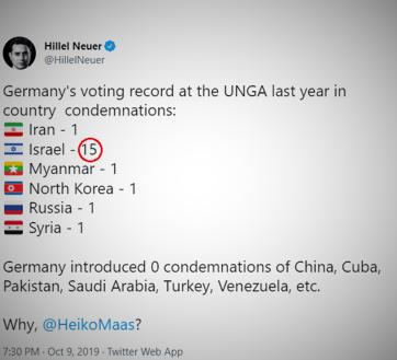 Zrzut z ekranu z konta Twittera przewodniczącego UN Watch Hillela Neuera, który pyta Ministra Spraw Zagranicznych Niemiec, Heiko Maasa dlaczego rok po roku Niemcy na forum ONZ potępiają naród żydowski więcej razy niż wszystkie inne narody świata razem wzięte?