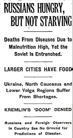 """Depesza Waltera Duranty'ego z Moskwy w piątek, 31 marca 1933 r. """"New York Times"""""""