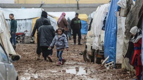 Obóz dla uchodźców przy granicy syryjskiej.
