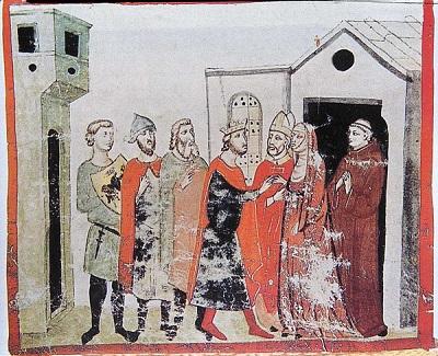 Cesarz Henryk IV ukorzył się przed papieżem Grzegorzem VII w styczniu 1077 roku.