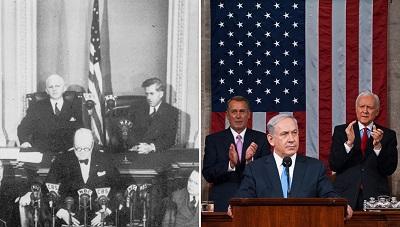 Zdjęcie po lewej: Brytyjski premier Winston Churchill przemawia na wspólnej sesji Kongresu USA 27 grudnia 1941 r. (zdjęcie: Keystone/Hulton Archive/Getty Images). Zdjęcie po prawej: Izraelski premier Benjamin Netanjahu przemawia na wspólnej sesji Kongresu USA 3 marca 2015 r. (Zdjęcie: US House of Representatives/Wikimedia Commons).