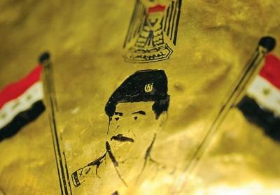 Wizerunek byłego przywódcy irackiego Saddama Husajna, miedzioryt. (zdjęcie: REUTERS)