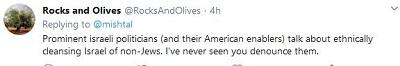 [Czołowi izraelscy politycy (i ich amerykańscy pomagierzy) mówią o etnicznym oczyszczeniu Izraela z nie-Żydów. Nigdy nie widziałem, byś ich potępił.]
