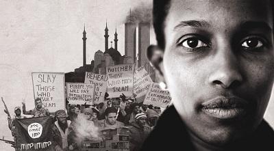Zdjęcie zafisza zapraszającego naspotkanie wMelbourne, naktóre Ayaan Hirsi Ali niemogła przybyć zewzględu nagroźby śmierci.