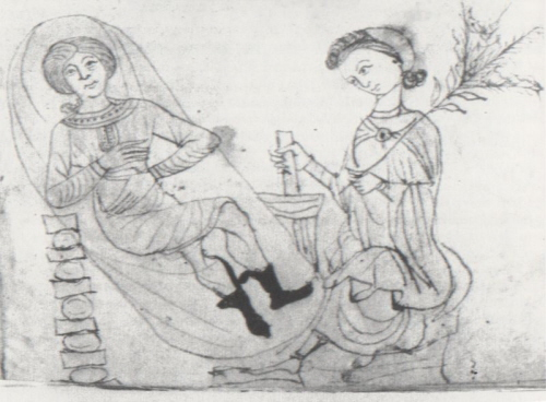 """Ilustracja z XIII-wiecznego """"Herbarium"""" Pseudo-Apulejusza przedstawiająca przygotowywanie ziół poronnych; domena publiczna"""