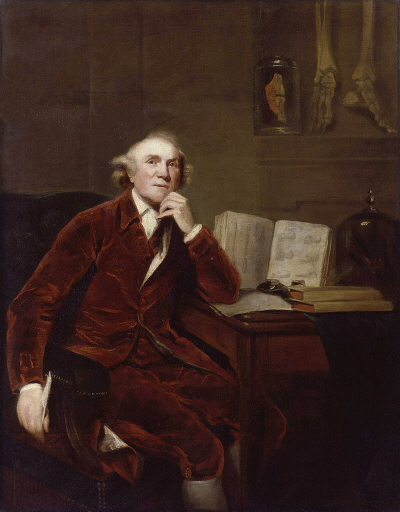 John Hunter; John Jackson, National Portrait Gallery, obraz malowany na podstawie portretu autorstwa Sir Joshuy Reynoldsa z 1786; domena publiczna
