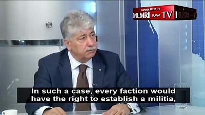 """Ahmed Madżdalani, członek komitetu wykonawczego OWP, którego jego ludzie oskarżają o promowanie """"normalizacji"""" z Izraelem. (Zrzut z ekranu z wideo MEMRI)"""