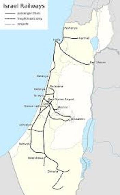 Izraelskie koleje, w odróżnieniu od połączeń autobusowych, nie mają specjalnie rozbudowanej sieci.