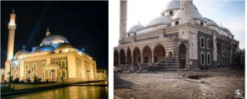Meczet Chalida Ibn Al-Walida przed i po uderzeniem pociskiem artyleryjskim (zdjęcia:aksaler.com, 7 lipca 2013; radiosawa.com, 17 kwietnia 2013)