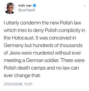 <span>[Absolutnie potępiam nowe polskie prawo, które próbuje zaprzeczyć polskiemu współudziałowi w Holocauście. Stworzyli to Niemcy, ale setki tysięcy Żydów zostało zamordowanych nigdy nie spotykając niemieckiego żołnierza. Były polskie obozy śmierci i żadne prawo nie może tego zmienić.]</span>