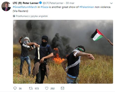 <center>#WielkiMarszPowrotu w #Gazie jest kolejnym wielkim pokazem #palestyńskiego braku przemocy.(via Reuters) 15:53, 30 marca 2018</center>