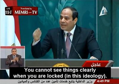 Egipski prezydent Abdel Fattah el-Sisi wygłasza historyczne przemówienie do czołowych uczonych i duchownych uniwersytetu Al-Azhar w Kairze, 28 grudnia 2014 roku (Zdjęcie:MEMRI)