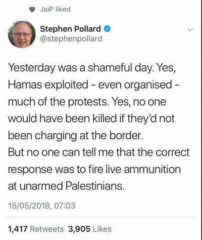 Wczoraj był haniebny dzień. Tak, Hamas wykorzystał – nawet zorganizował – większość protestów. Tak, nikt nie byłby zabity, gdyby Hamas nie atakował granicy. Nikt jednak nie może mi powiedzieć, że poprawną reakcją jest strzelanie ostrą amunicją do nieuzbrojonych Palestyńczyków.