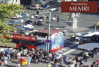 Scena po zamachu 17 sierpnia 2017 r. w Barcelonie; 13 zabitych, co najmniej 130 rannych (Zdjęcie: almasdar.tn)