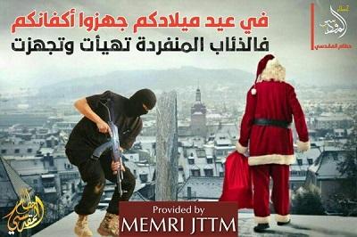 """Arabski napis brzmi: """"W wasze Boże Narodzenie przygotujcie wasze całuny, bo samotne wilki są gotowe i wyposażone\"""