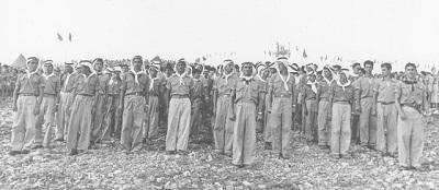 <span>Członkowie ruchu Pionierska Młodzież Arabska, 1956. Zdjęcie: Archiwum Haszomer Hacair</span>