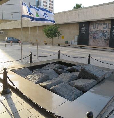 Pomnik na miejscu, gdzie zamordowano Rabina w pobliżu Placu Rabina w Tel Awiwie