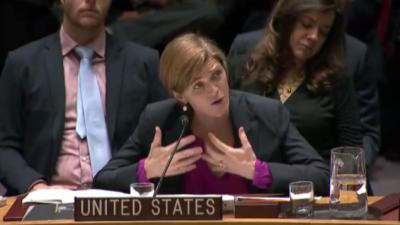 Samantha Power, amerykańska ambasador przy Radzie Bezpieczeństwa ONZ przemawia po głosowaniu, w którym Stany Zjednoczone wstrzymały się od głosu.