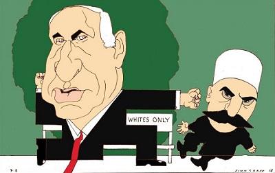 """Jak sie uwolnić od piętna współpracy z nazizmem? Norweski dziennik """"Dagbladet"""" opublikał karykaturę z sylwetką izraelskiego premiera w kształcie swastyki. Zamienianie wczorajszych ofiar w katów, to nasilająca się dziś tendencja nie tylko w Norwegii."""