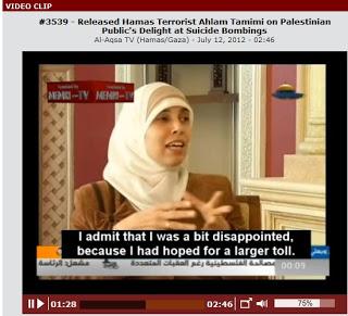 Ta kobieta mówi z dumą, że chciała zabić więcej dzieci żydowskich i poświęciła dni swojej wolności od wypuszczenia jej z więzienia, działaniu, by to się stało <br /> [Zdjęcie z tego wywiadu na wideo]