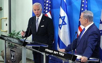 Premier Benjamin Netanjahu podczas wspólnej konferencji prasowej z wiceprezydentem Joe Bidenem w Jerozolimie, 9 marca 2016. (Amit Shabi/POOL)