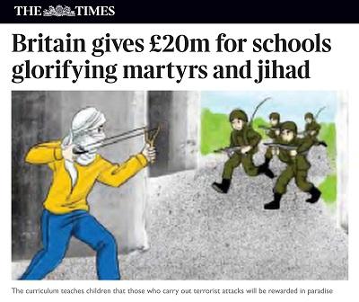 Zdjęcie: Zrzut z ekranu ilustracji do artykułu wSunday Timespokazującego finansowanie przez rząd brytyjski palestyńskiej oświaty, która promuje przemoc, a szczególnie dżihad i zachęca do męczeństwa.
