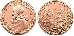 <span>Medal wybity na polecenie papieża Grzegorza XIII</span><span>dla uczczenia rzezi hugenotów z1572 roku.</span>