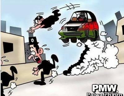 Zrzut z ekranu z filmu rysunkowego opublikowanego na stronie Facebooka ruchu Fatahu, przedstawiający trzech Żydów, którzy uciekają, kiedy próbuje ich przejechać samochód prowadzony przez Palestyńczyka, listopad 2014.