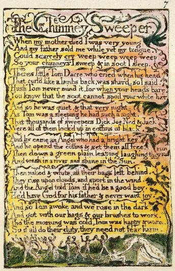 """William Blake, sprzedany w dzieciństwie """"Kominiarczyk"""" z """"Pieśni niewinności"""", 1795; http://tinyurl.com/goqkywg"""