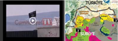 Po lewej: Wideo Cumhuriyet pokazujące budynek w obozie Atme, skąd kierowcy zabrali dżihadystów. Po prawej: trasa autobusów wiozących dżihadystów z obozu Atme w Syrii do Tel Abyad w Syrii przez Turcję. <br />