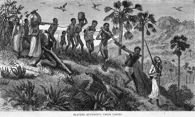 Dziewiętnastowieczna grafika z wydanej w 1866 roku książki opartej na szkicach i doniesieniach Davida Livingstone'a