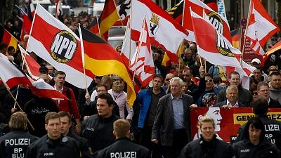 Demonstracja niemieckiej, skrajnie prawicowej partii NPD(Zdjęcie: Reuters)