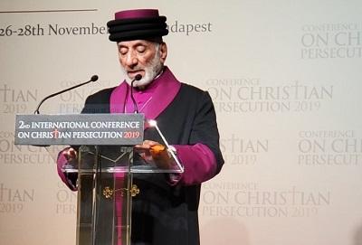Asyryjski patriarcha-katolikos Mar Gewargis III, przemawia na konferencji w Budapeszcie.