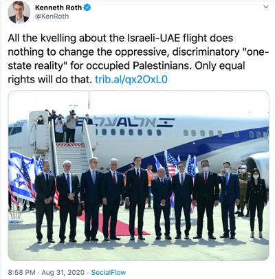 """Całe jojczenie o locie na trasie Izrael-ZEA nie robi niczego, by zmienić ciemiężącą """"rzeczywistość jednego państwa"""" dla okupowanych Palestyńczyków. Dokonają tego tylko równe prawa."""