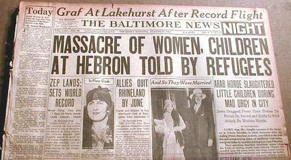 Doniesienie prasowe o masakrze w Hebronie, 1929 r.