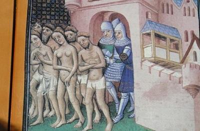 Wypędzenie albigensów z Carcassonne na obrazie z 'Wielkiej kroniki Francji' z ok. 1415 r.