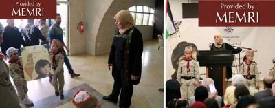 Gubernator Ramallah i Al-Bireh, Laila Ghanam i harcerze podczas ceremonii (Facebook.com/R.b.Governorate, 12 marca 2016)