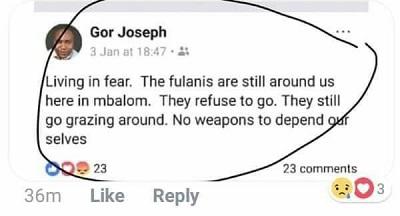 Na zdjęciu: Post na Facebooku z 3 stycznia ojca Josepha Gora. Ojciec Gor został zamordowany w swoim kościele w Nigerii przez muzułmańskich pasterzy 24 kwietnia.
